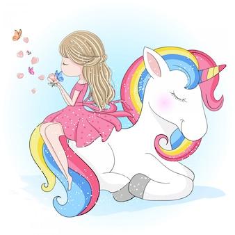 Ragazza carina disegnata a mano che si siede in un unicorno