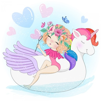 Ragazza carina disegnata a mano con unicorno