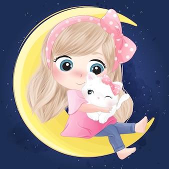 Ragazza carina disegnata a mano e gattino seduto nella luna