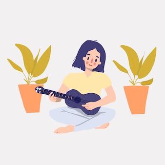 Ragazza carina disegnata a mano gioca su ukulele