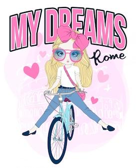 Ragazza carina disegnata a mano in sella a una bicicletta