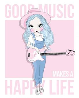 Ragazza carina disegnata a mano, suonare la chitarra