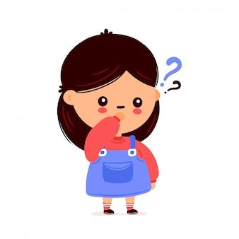 Ragazza carina divertente con punto interrogativo. progettazione dell'illustrazione del personaggio dei cartoni animati di vettore. isolato