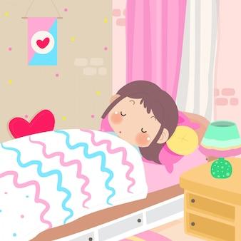 Ragazza carina dormendo e sognando con amore