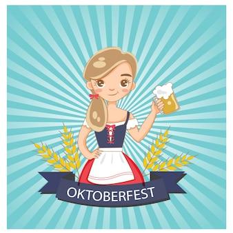 Ragazza carina e bicchiere di birra sul poster oktoberfest