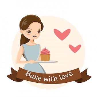 Ragazza carina e cupcake