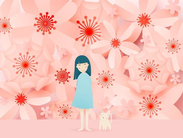Ragazza carina e gatto con arte bella carta floreale e combinazioni di colori pastello