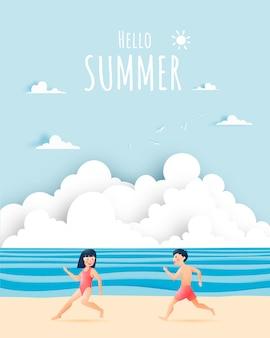 Ragazza carina e ragazzo con illustrazione bellissima spiaggia