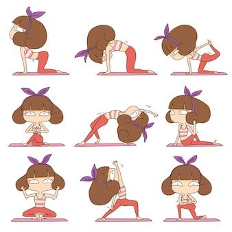 Ragazza carina facendo design di carattere yoga