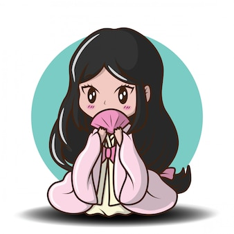 Ragazza carina giapponese in costume da principessa