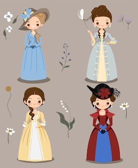 Ragazza carina in abito vittoriano insieme di raccolta dei cartoni animati