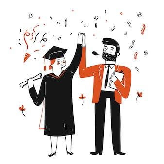 Ragazza carina laureata all'università con il suo insegnante congratulazioni.