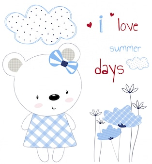 Ragazza carina orso su una carta con fiori e cuori