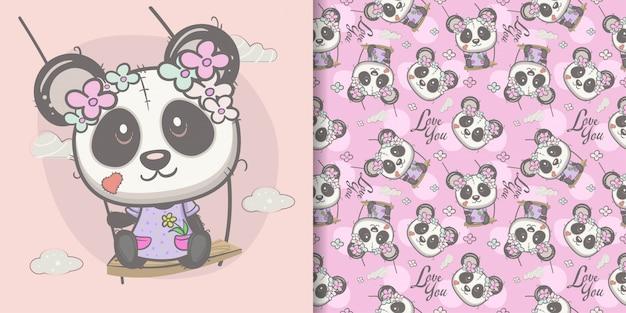 Ragazza carina panda cartone animato con reticolo senza giunte