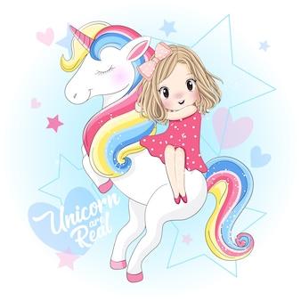 Ragazza carina seduta sull'unicorno