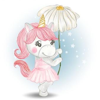 Ragazza carina unicorno che trasportano fiori bianchi