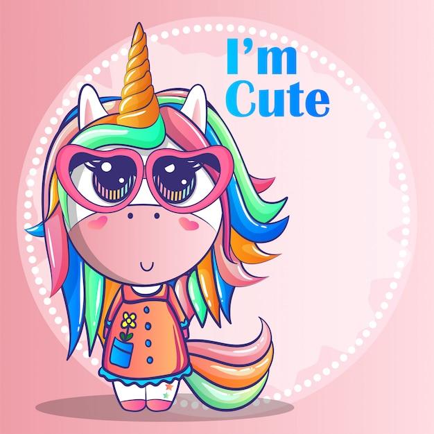 Ragazza carina unicorno