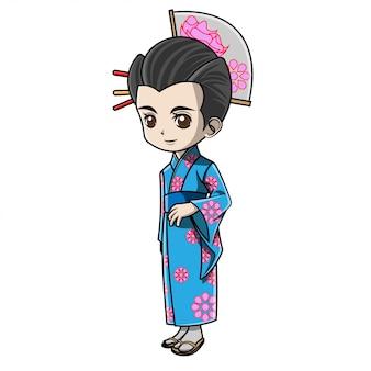 Ragazza cartone animato che indossa abiti giapponesi