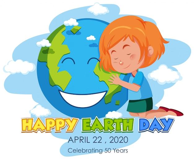 Ragazza che abbraccia la terra saluto felice giornata della terra