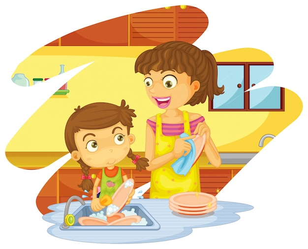 Ragazza che aiuta mamma a lavare i piatti