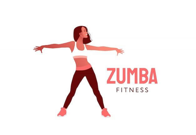 Ragazza che balla saltando felice. dancing della donna nell'illustrazione dello studio di forma fisica. danza aerobica fitness.