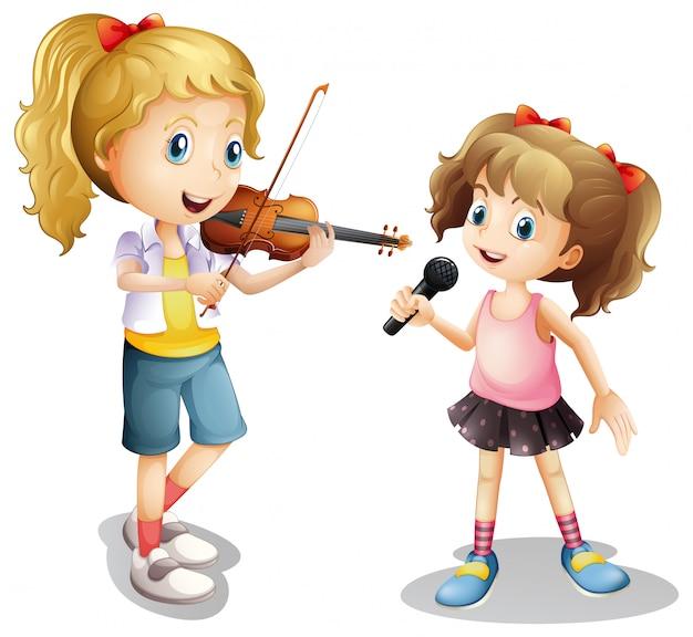 Ragazza che canta e ragazza che suona il violino