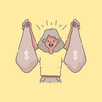 Ragazza che celebra tenendo tonnellate di denaro illustrazione