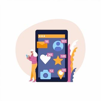 Ragazza che controlla la notifica di spinta della rete sociale. bello cellulare femminile della tenuta di blogger con le icone di app intorno. dipendenza da social network.