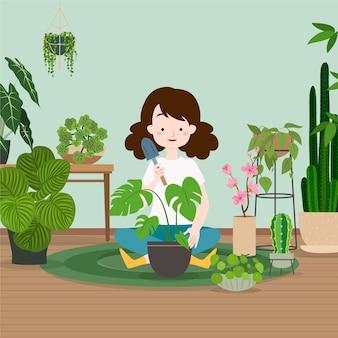 Ragazza che fa il giardinaggio a casa illustrazione