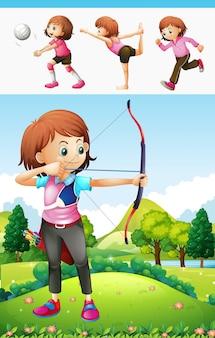 Ragazza che fa il tiro con l'arco e un'altra illustrazione di sport