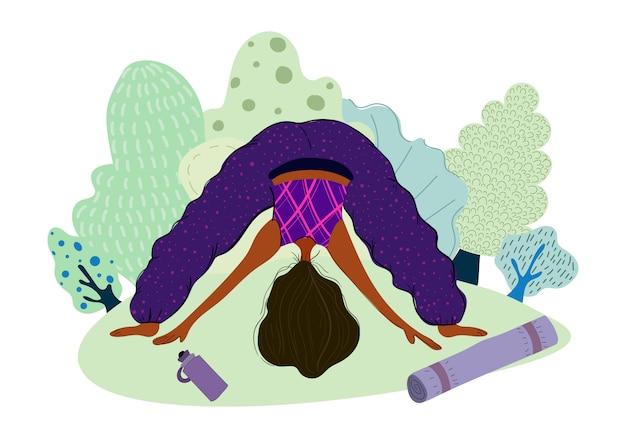 Ragazza che fa yoga nel parco, donna nello sport, stile di vita sano