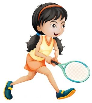 Ragazza che gioca a tennis su fondo bianco