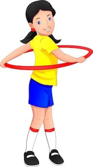 Ragazza che gioca hula hoop