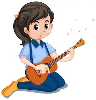 Ragazza che gioca ukulele su bianco