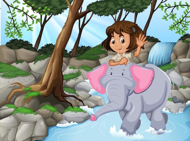 Ragazza che guida la scena di elefante giungla