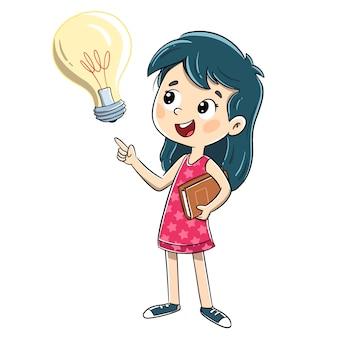 Ragazza che ha un'idea con una lampadina
