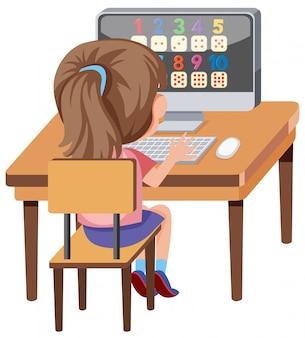 Ragazza che impara con il computer