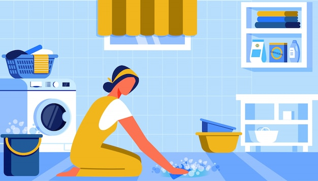 Ragazza che lava il pavimento con secchio
