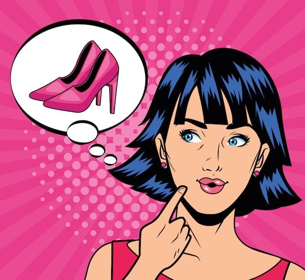 Ragazza che pensa nel personaggio di scarpe stile pop art