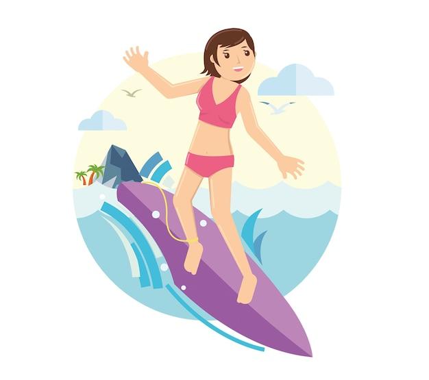 Ragazza che pratica il surfing sulle onde