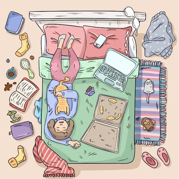 Ragazza che procrastina sul letto
