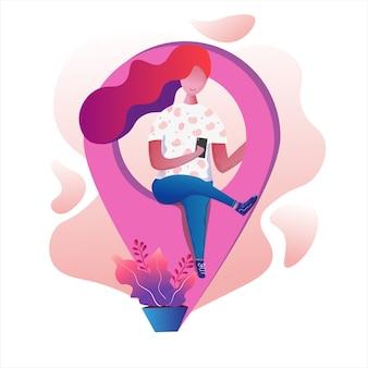Ragazza che si siede all'illustrazione dell'icona dei gps