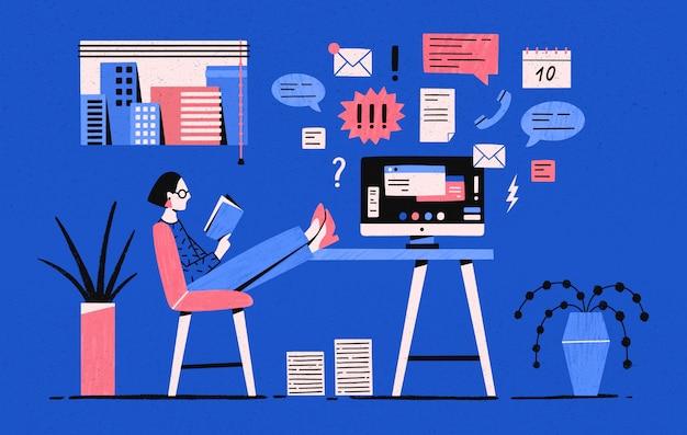 Ragazza che si siede con le gambe sulla scrivania con il computer e il libro di lettura invece di lavorare sotto compiti. procrastinare la donna, procrastinare un impiegato. illustrazione in stile cartone animato piatto.