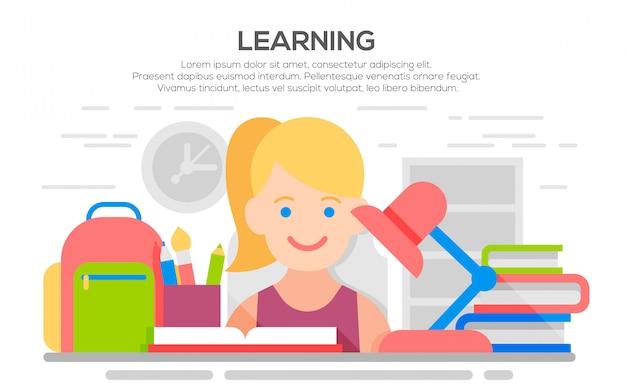 Ragazza che studia con i libri, illustrazione piana per istruzione, processo di apprendimento
