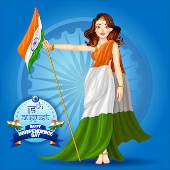 Ragazza che tiene il poster bandiera indiana
