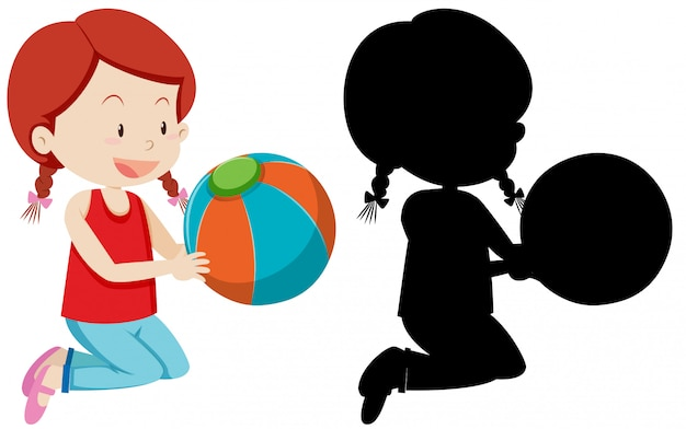 Ragazza che tiene palla colorata con la sua silhouette