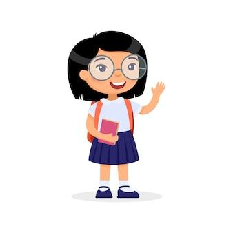 Ragazza che tiene un personaggio dei cartoni animati isolato libro. studente di scuola elementare con zaino.