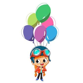 Ragazza che vola con palloncini. è vestita da aviatore.