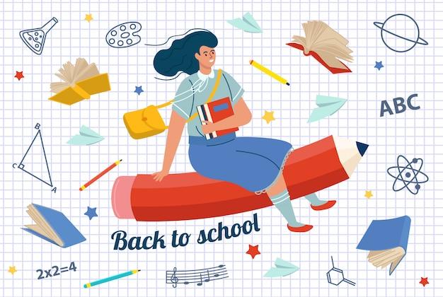 Ragazza che vola sull'illustrazione di vettore della matita. di nuovo a scuola. illustrazione vettoriale piatto.