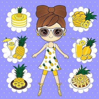 Ragazza con ananas